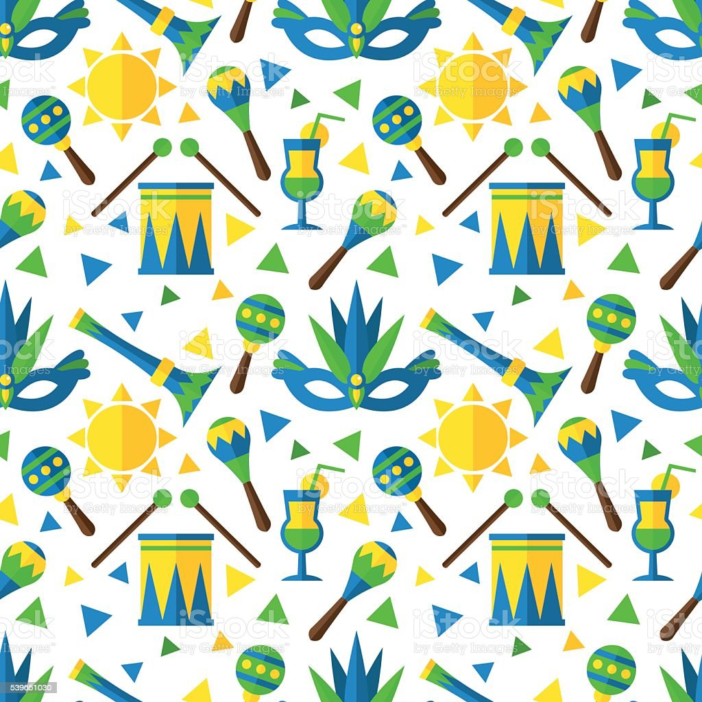 Bright seamless pattern with elements of the Brazilian carnival. vector art illustration
