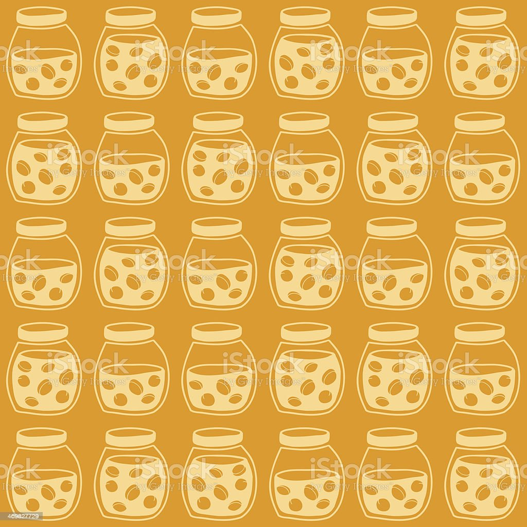 Bright seamless pattern with the apricot jam jars. royalty-free stock vector art