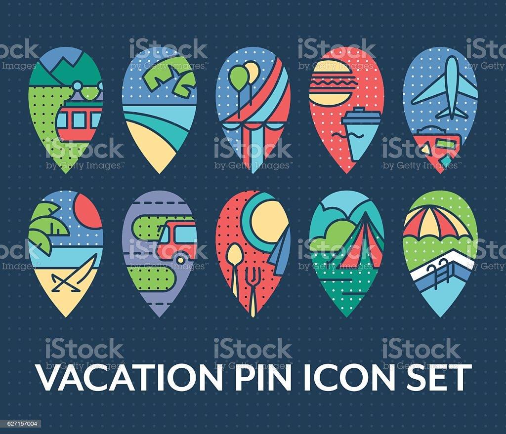 Bright set of vacation pin icons vector art illustration