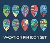 Bright set of vacation pin icons