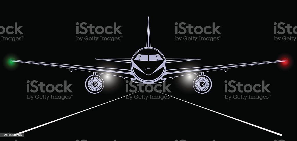Bright silhouette of a jet airliner coming in to land vector art illustration
