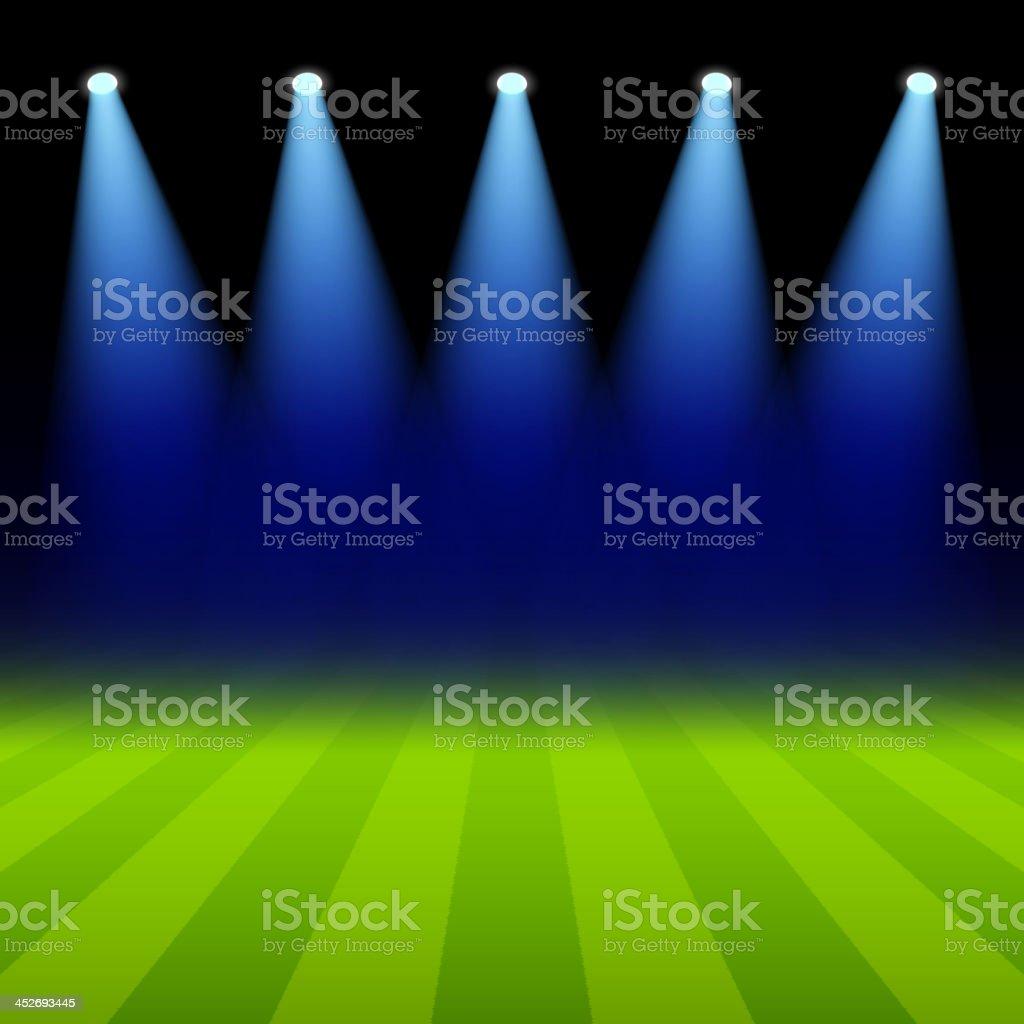 Bright spotlights illuminated green soccer field vector art illustration