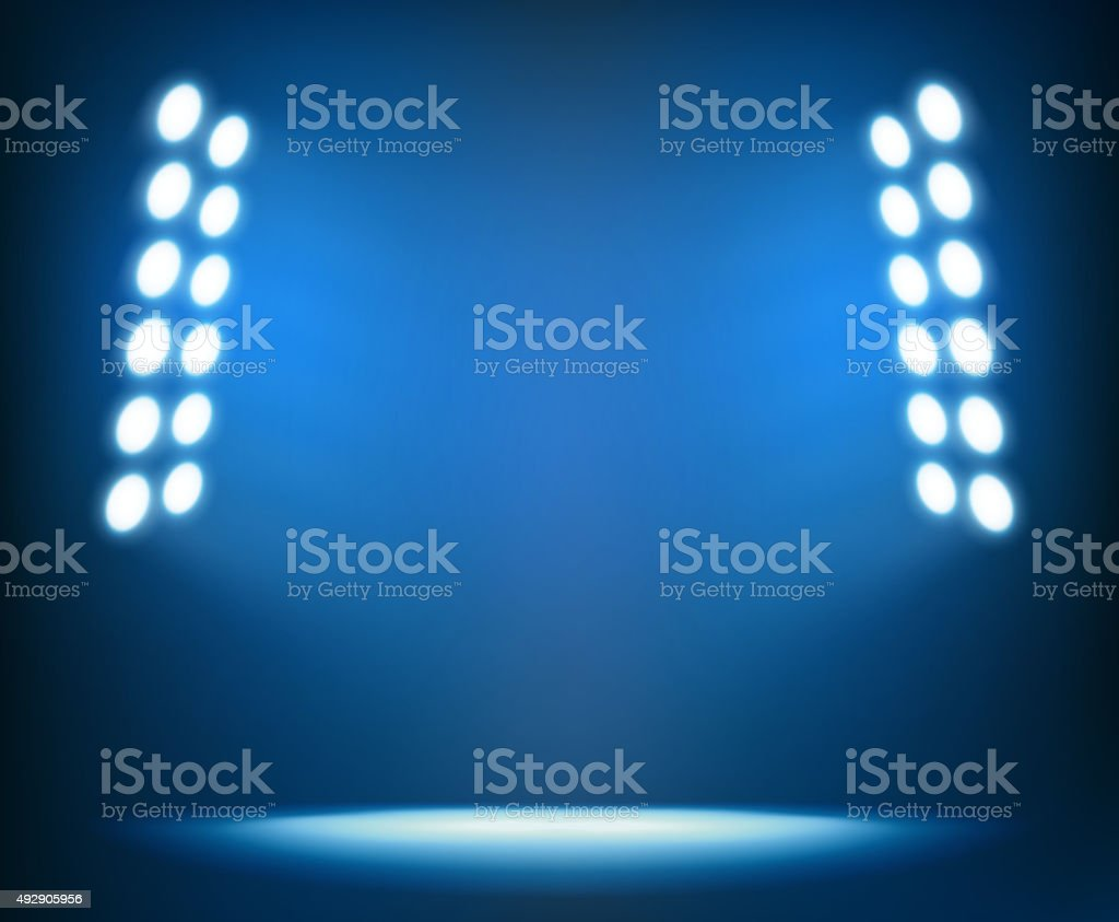 Bright spotlights on dark blue background vector art illustration