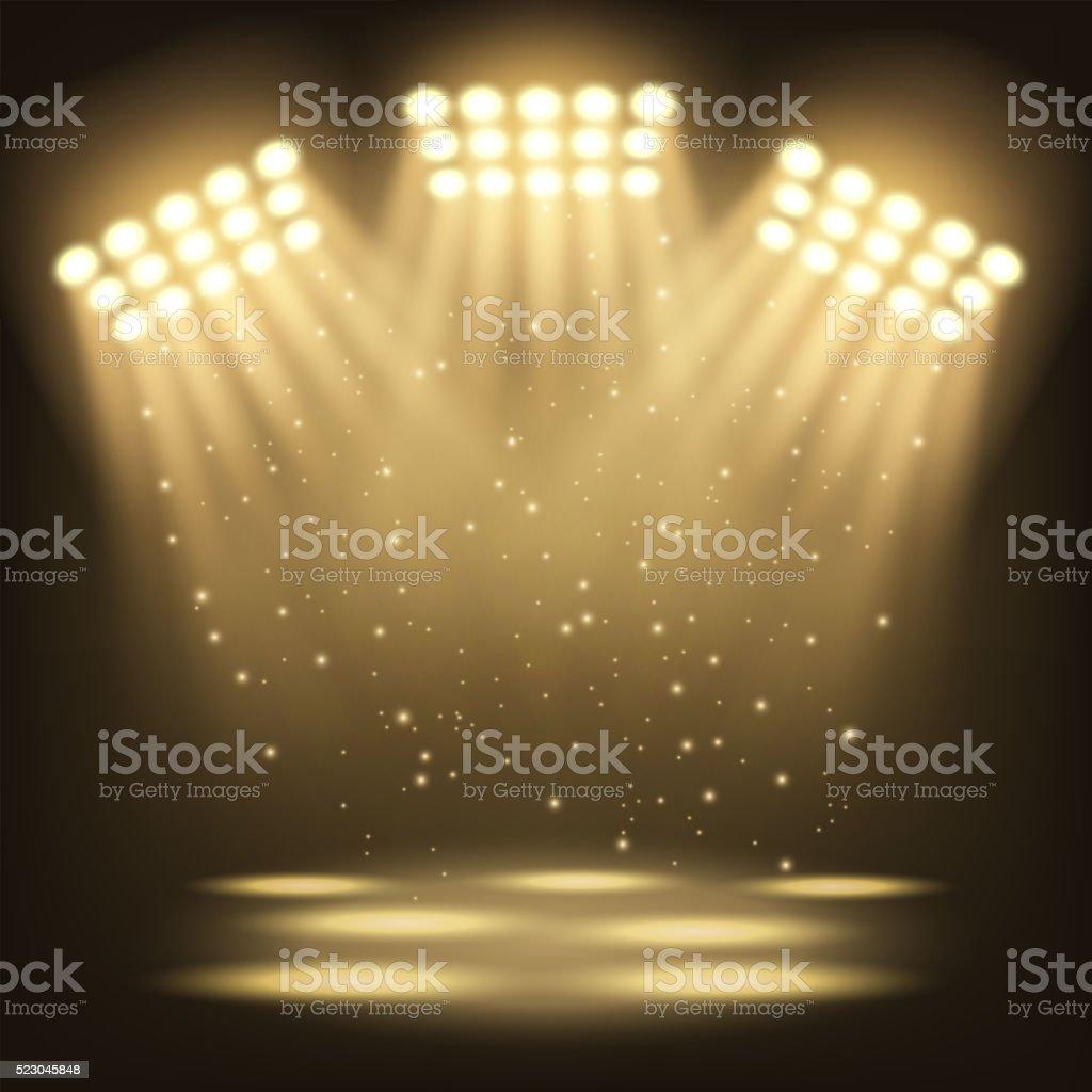 Bright stadium spotlights background vector art illustration