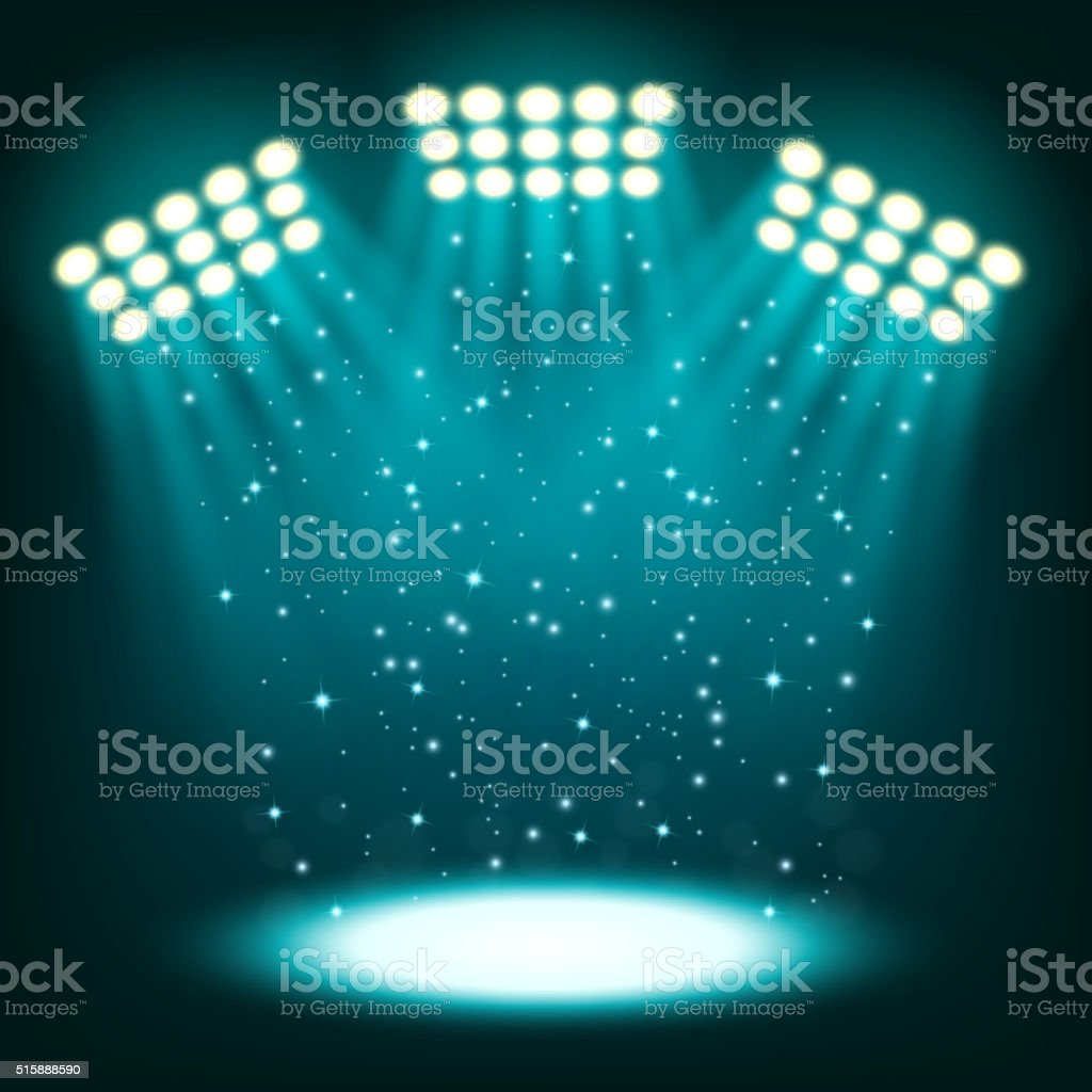 Bright stadium spotlights on dark blue background vector art illustration