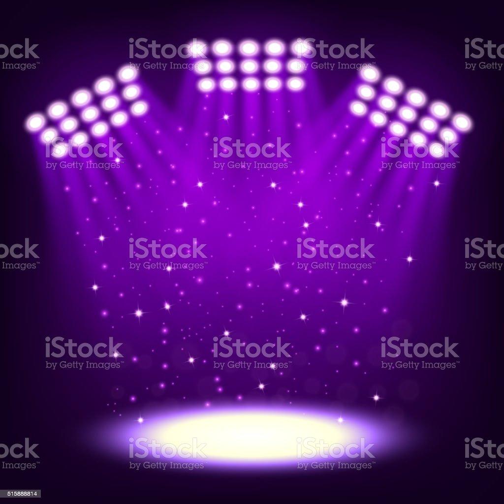 Bright stadium spotlights on dark violet background vector art illustration