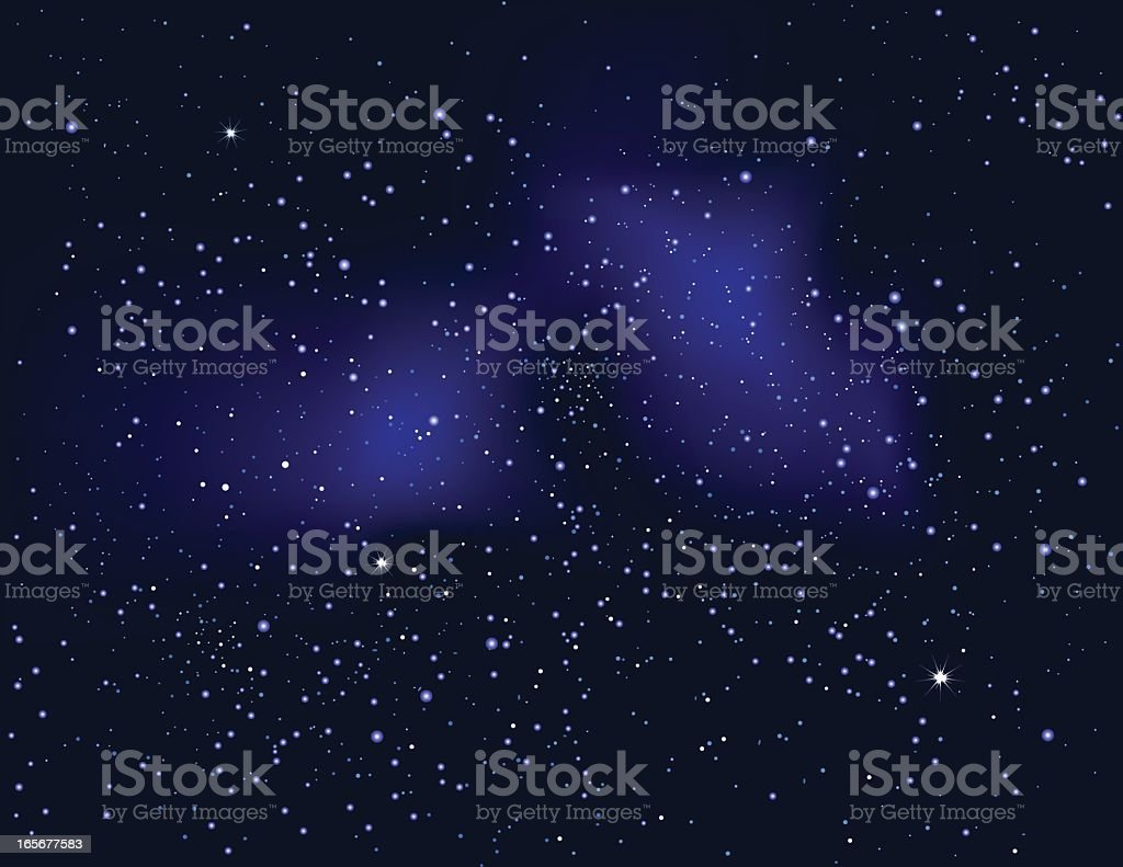 A bright, starry night sky background vector art illustration