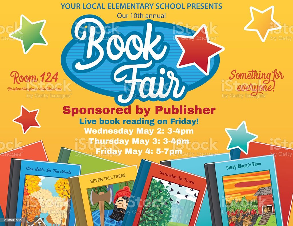 Bright Style Children's Book Fair or Sale Invitation Poster vector art illustration