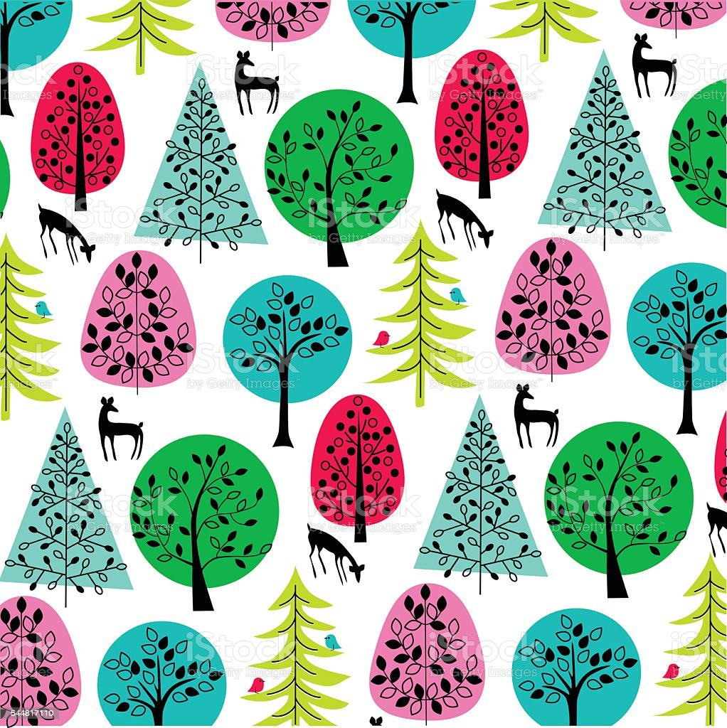 bright trees with deer and birds vector art illustration