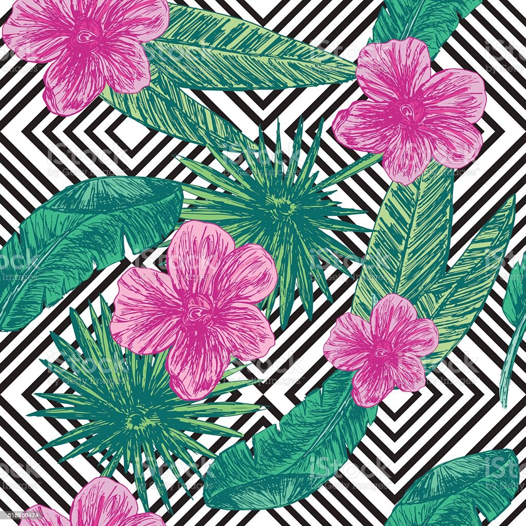 Bright tropical seamless pattern vector art illustration