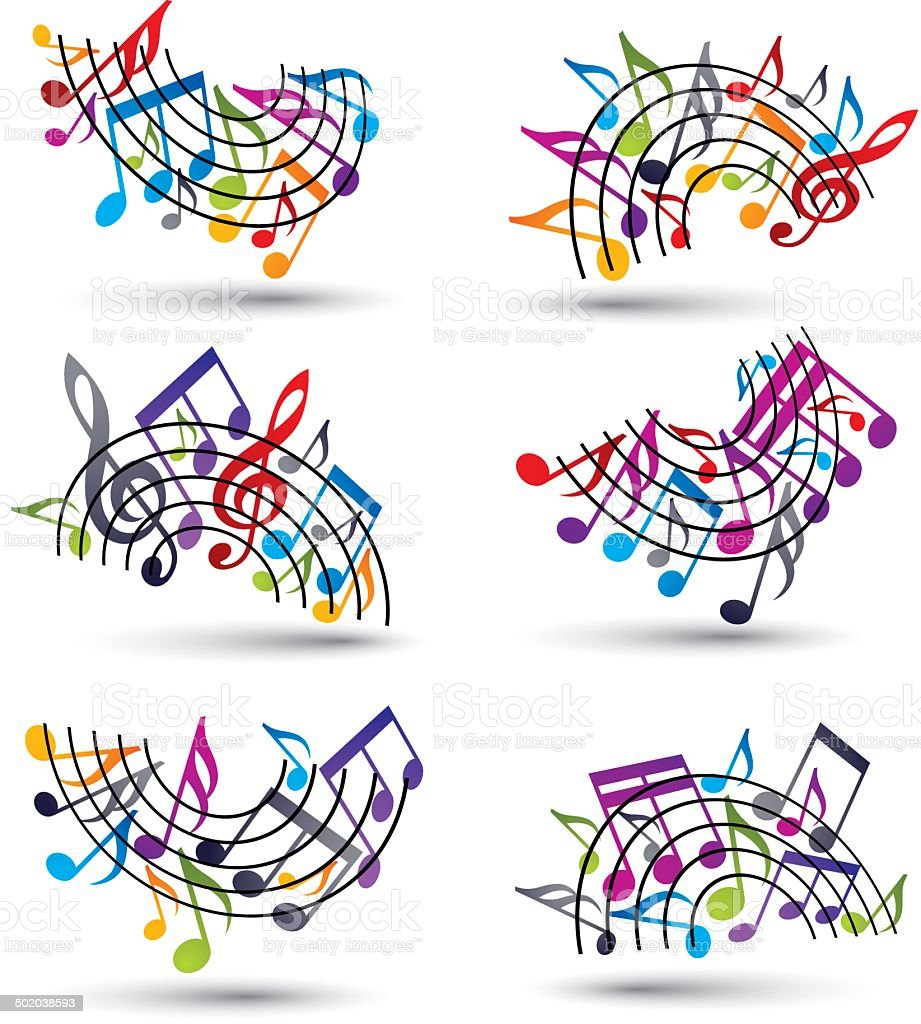 Bright  vector staves with musical notes vector art illustration