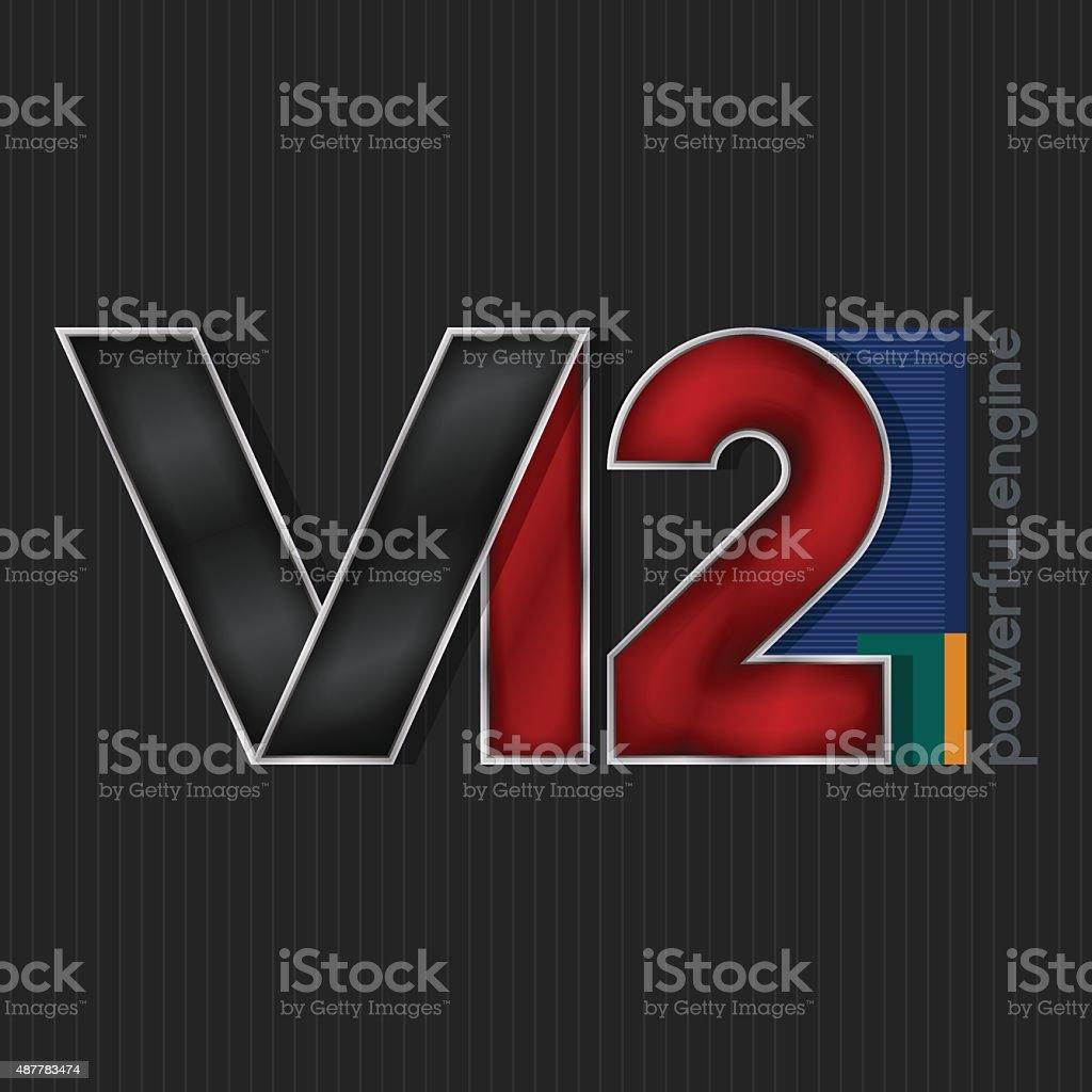V12,  Bright Volumetric Emblem V12 vector art illustration