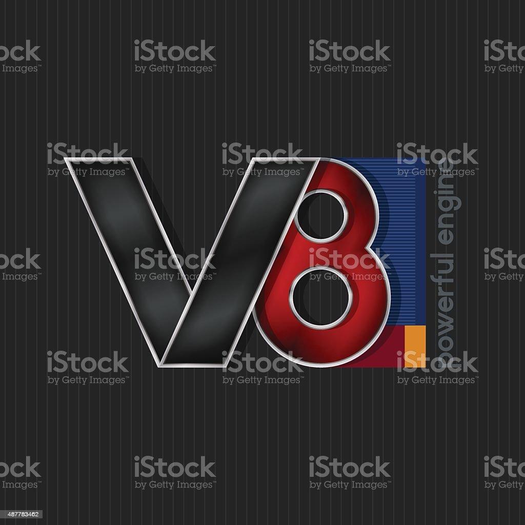 V8,  Bright Volumetric Emblem V8 vector art illustration