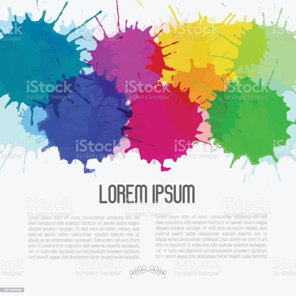Bright watercolor background with paint blots. Vector illustration. vector art illustration