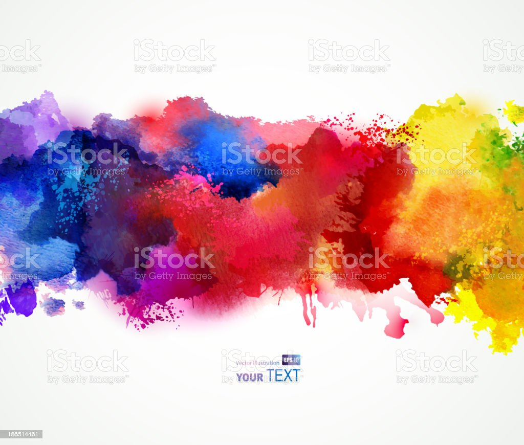 Bright watercolor stains vector art illustration