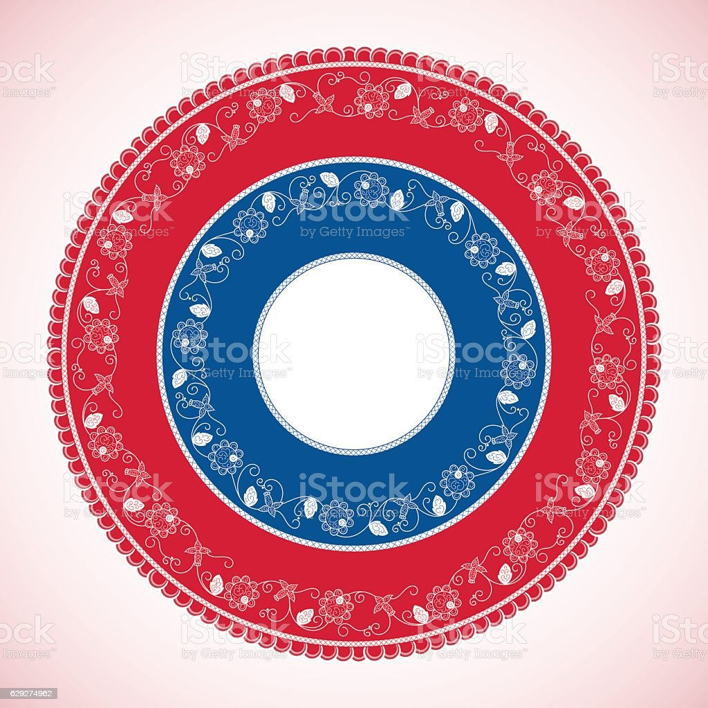 Bright wheel pattern vector. Panama traditional circle vector art illustration