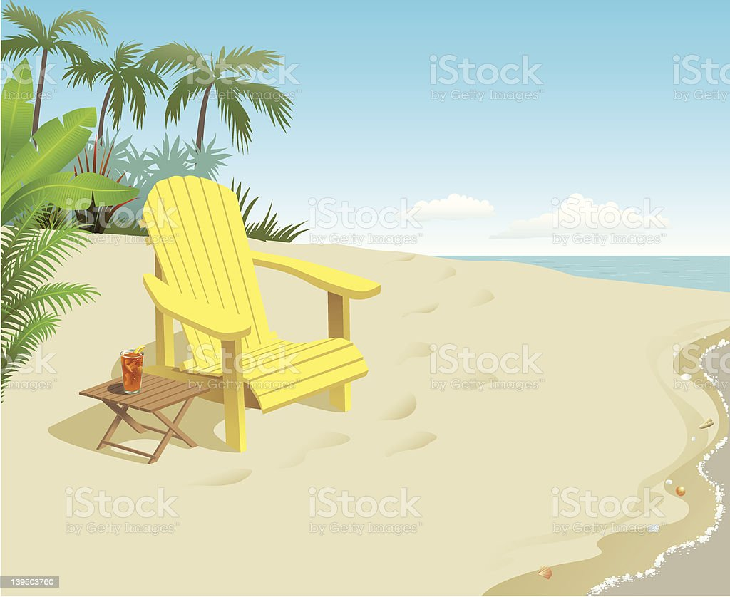 A bright yellow chair with a drink on the beach vector art illustration