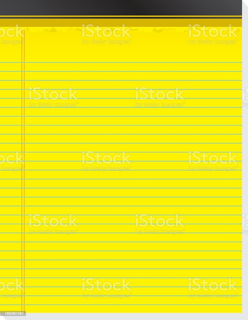 Bright yellow lined paper legal pad royalty-free stock vector art