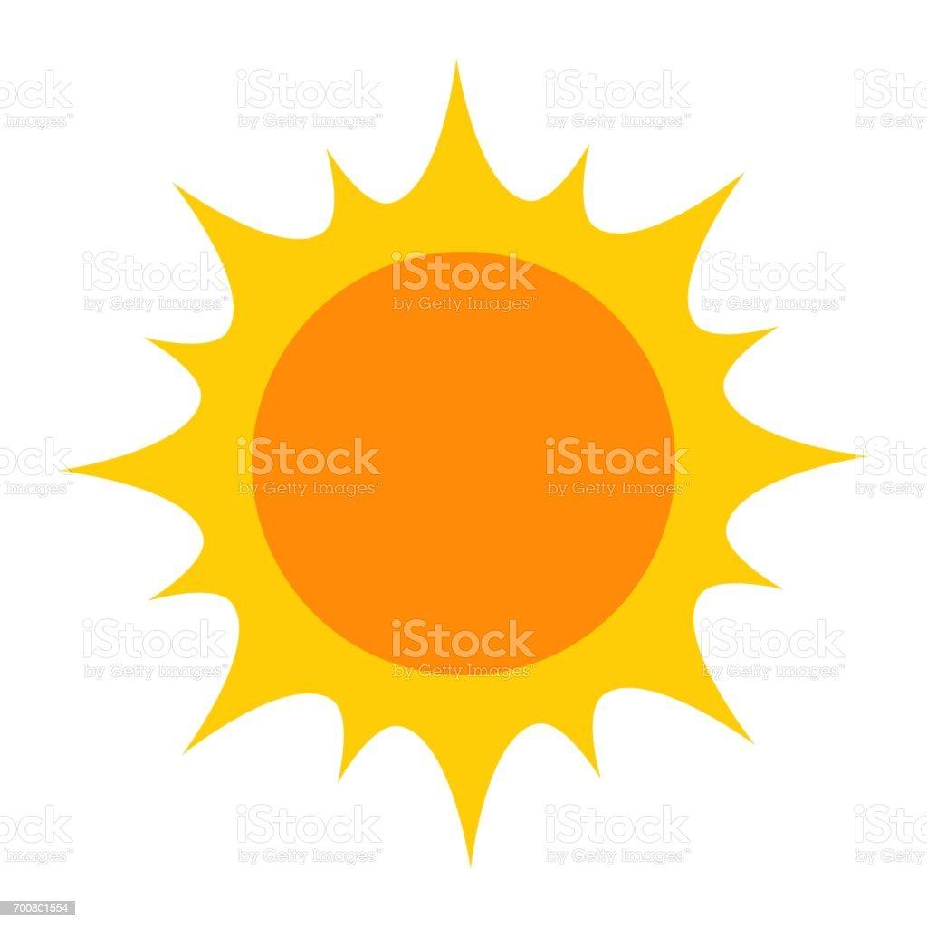 Bright yellow sun icon vector art illustration