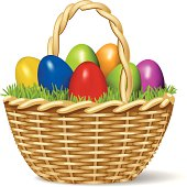 Brightly colored cartoon of Easter eggs in a basket