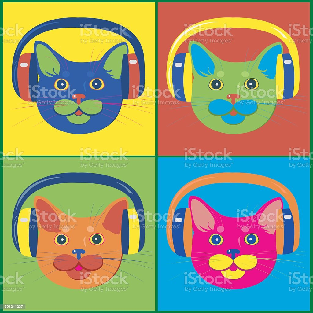 brightly colored cats in the music headphones royalty-free stock vector art
