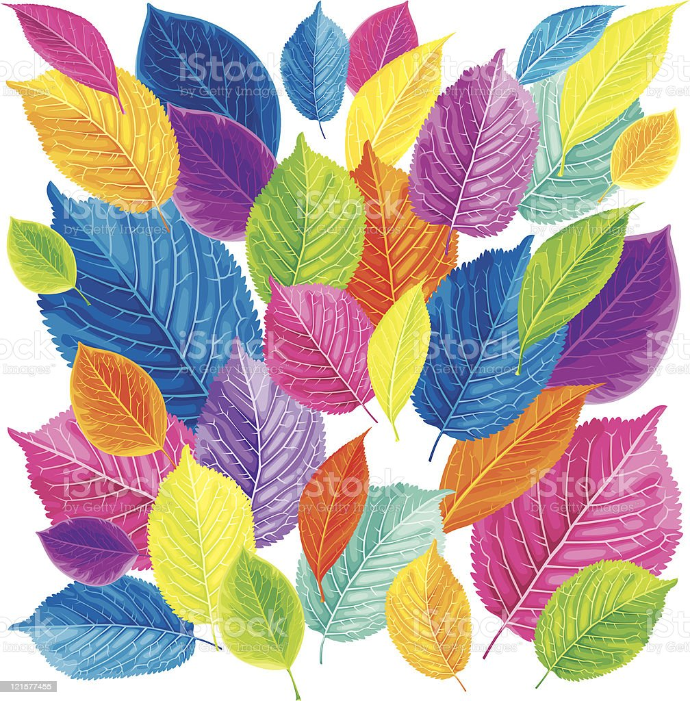 Brightly colored leaves background royalty-free stock vector art