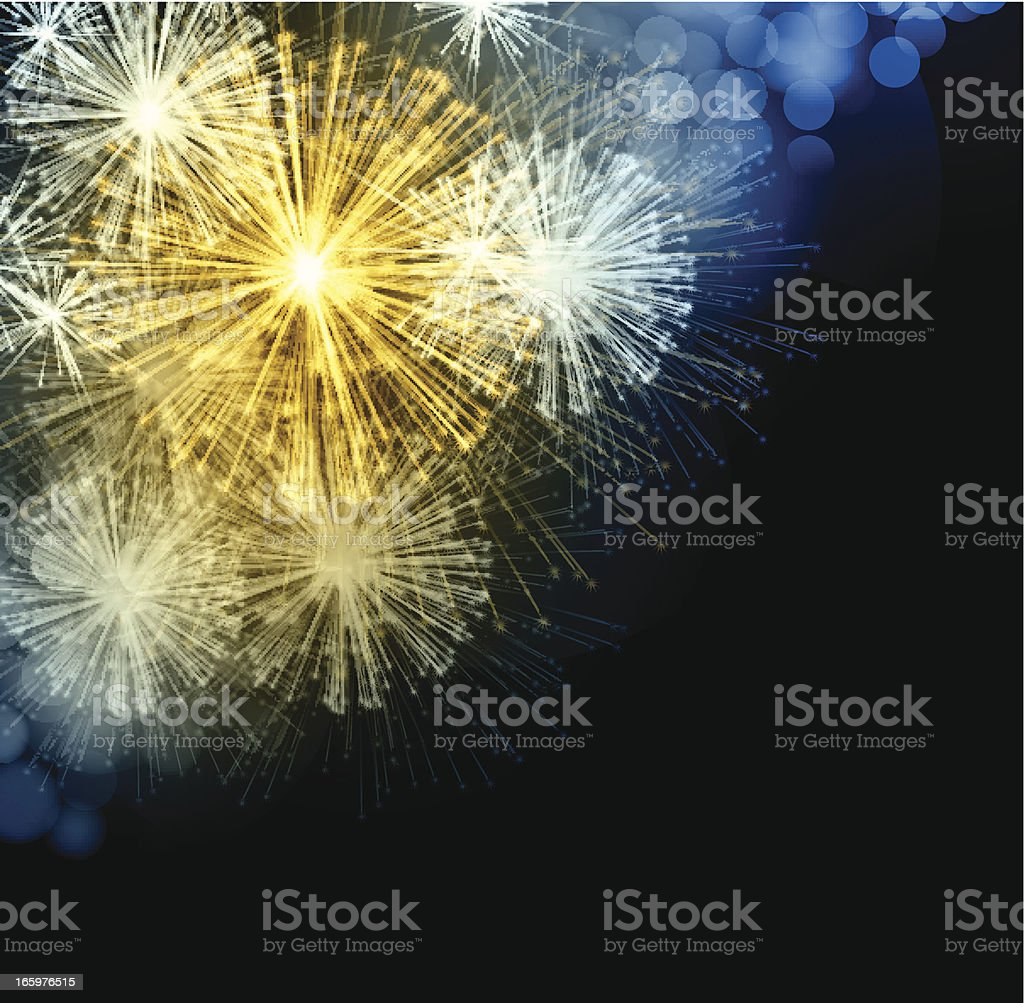Brightly Colorful Vector Fireworks and Salute royalty-free stock vector art