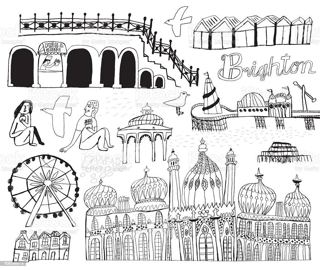 Brighton city elements vector art illustration