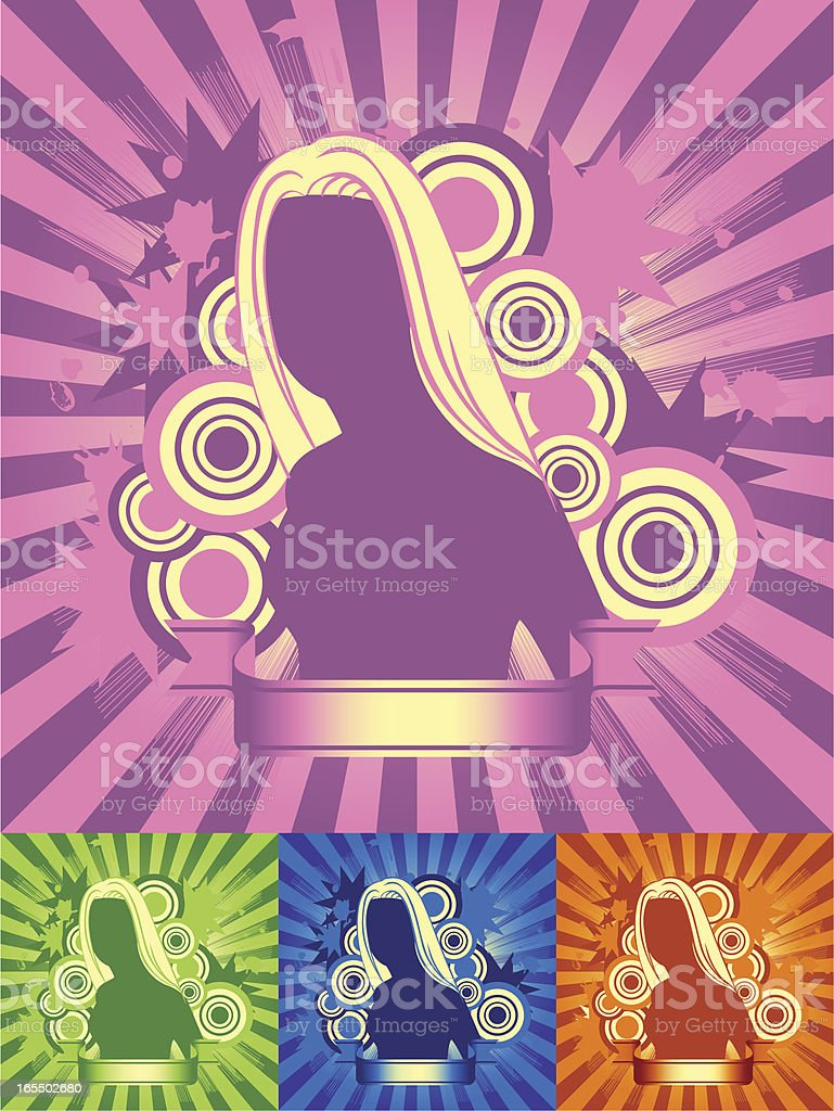 Brilliant Girl in four Color royalty-free stock vector art