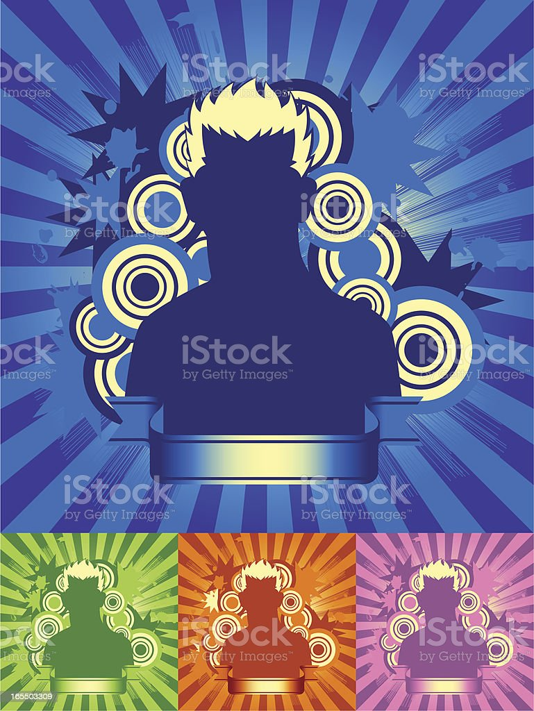 Brilliant Man in four Color royalty-free stock vector art