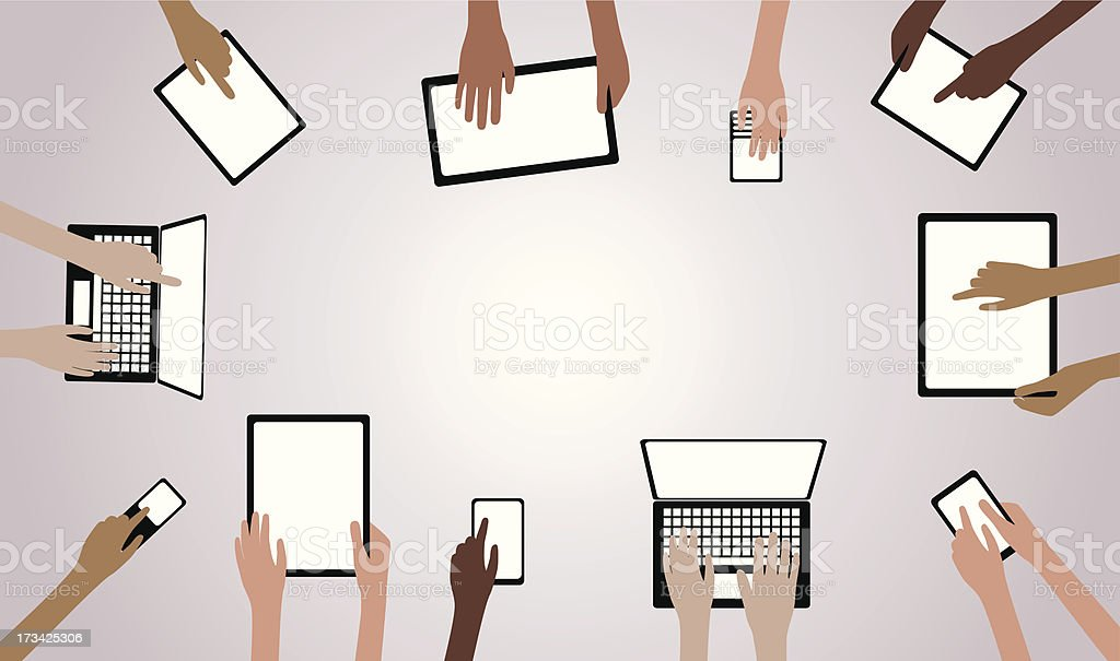 BYOD Bring your own Device Hands with Computers Tablets Phones royalty-free stock vector art