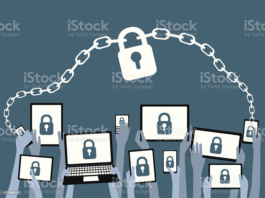 BYOD Bring Your Own Device Security Blue vector art illustration