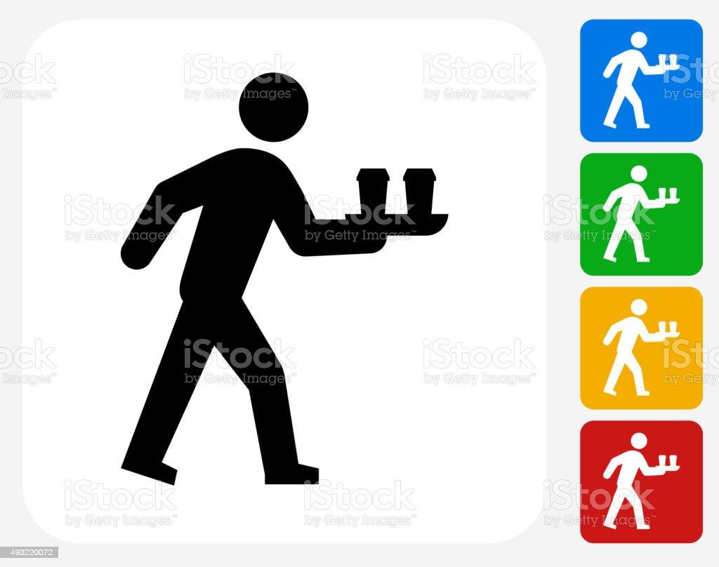 Bringing Coffee Icon Flat Graphic Design vector art illustration