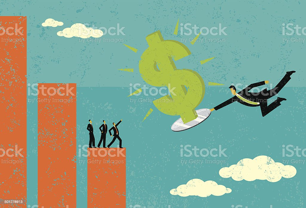Bringing in new revenue on a silver platter vector art illustration