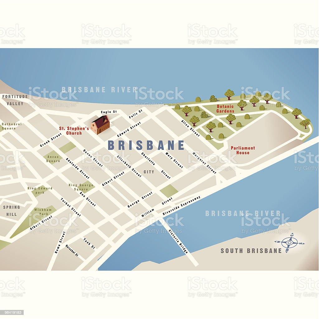 Brisbane, QLD, Australia Map vector art illustration