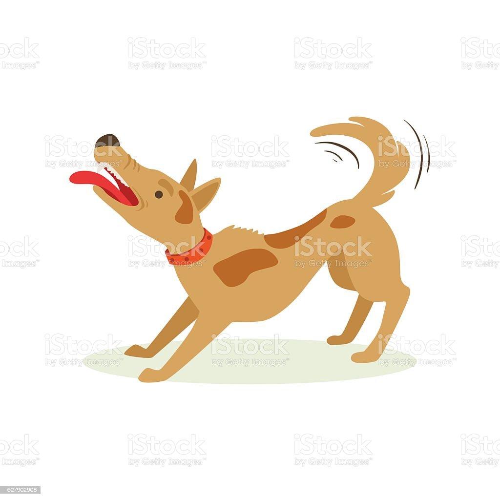 Bristling Up Angry Brown Pet Dog , Animal Emotion Cartoon Illustration vector art illustration