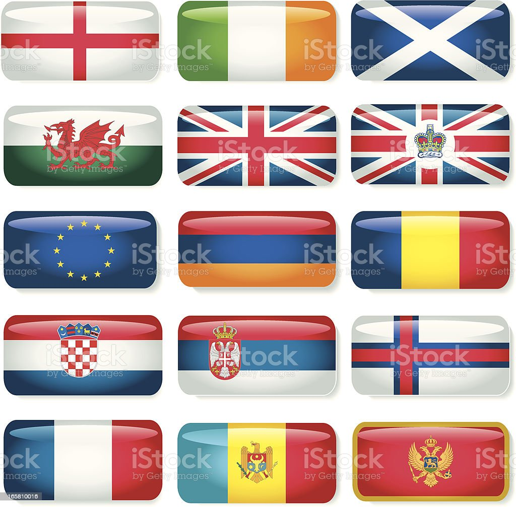 Britain and European Rectangular Flags royalty-free stock vector art