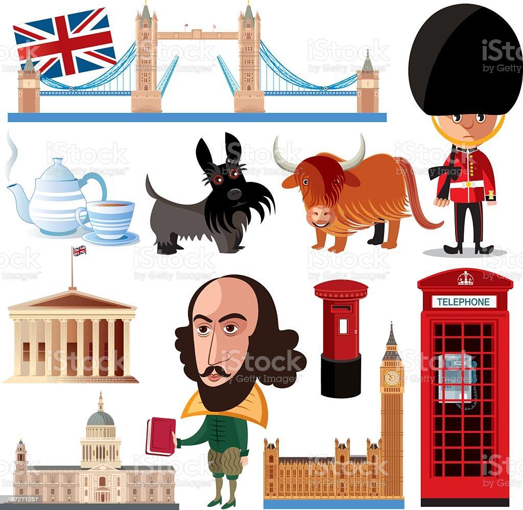 Britain Symbols vector art illustration