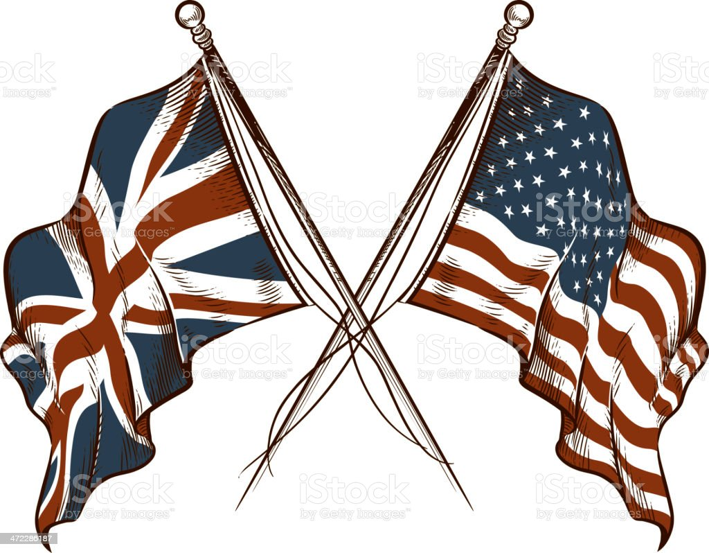 British and American Flags vector art illustration