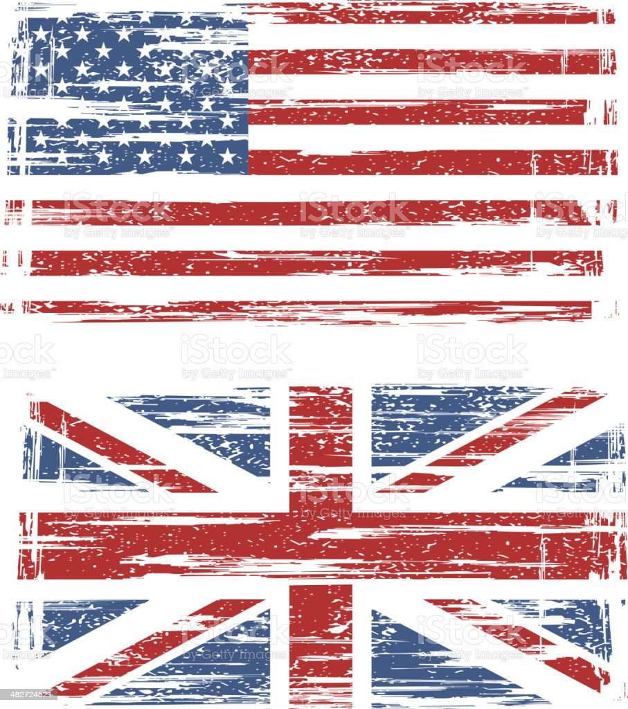 British and American grunge flags vector art illustration