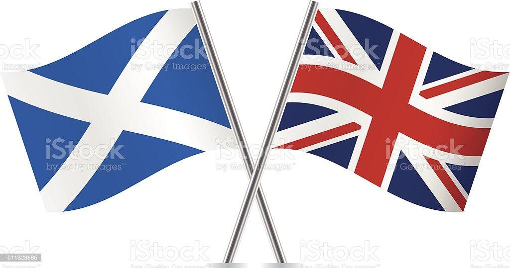 British and Scottish flags. Vector. vector art illustration