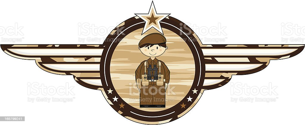 British Army Soldier with Binoculars Badge royalty-free stock vector art