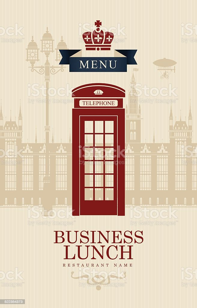 British business lunches vector art illustration