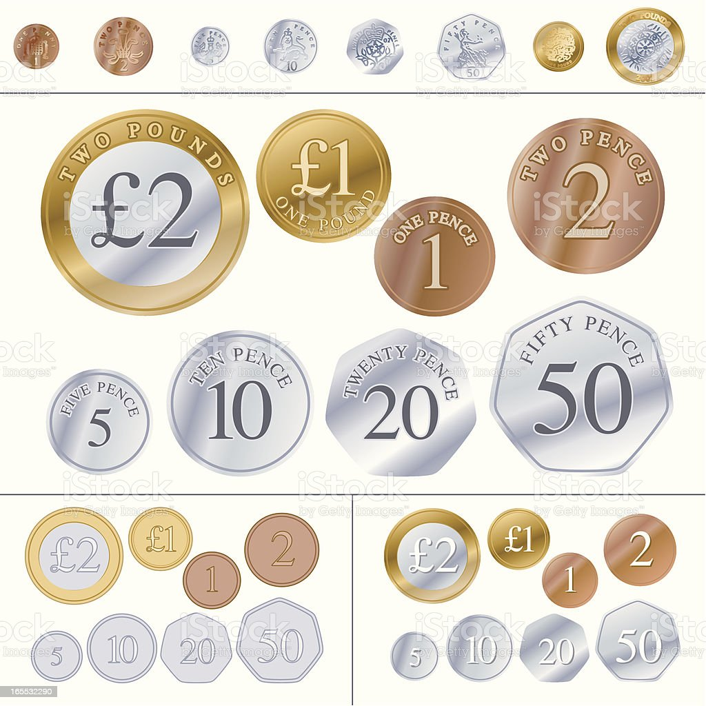 British Coins vector art illustration