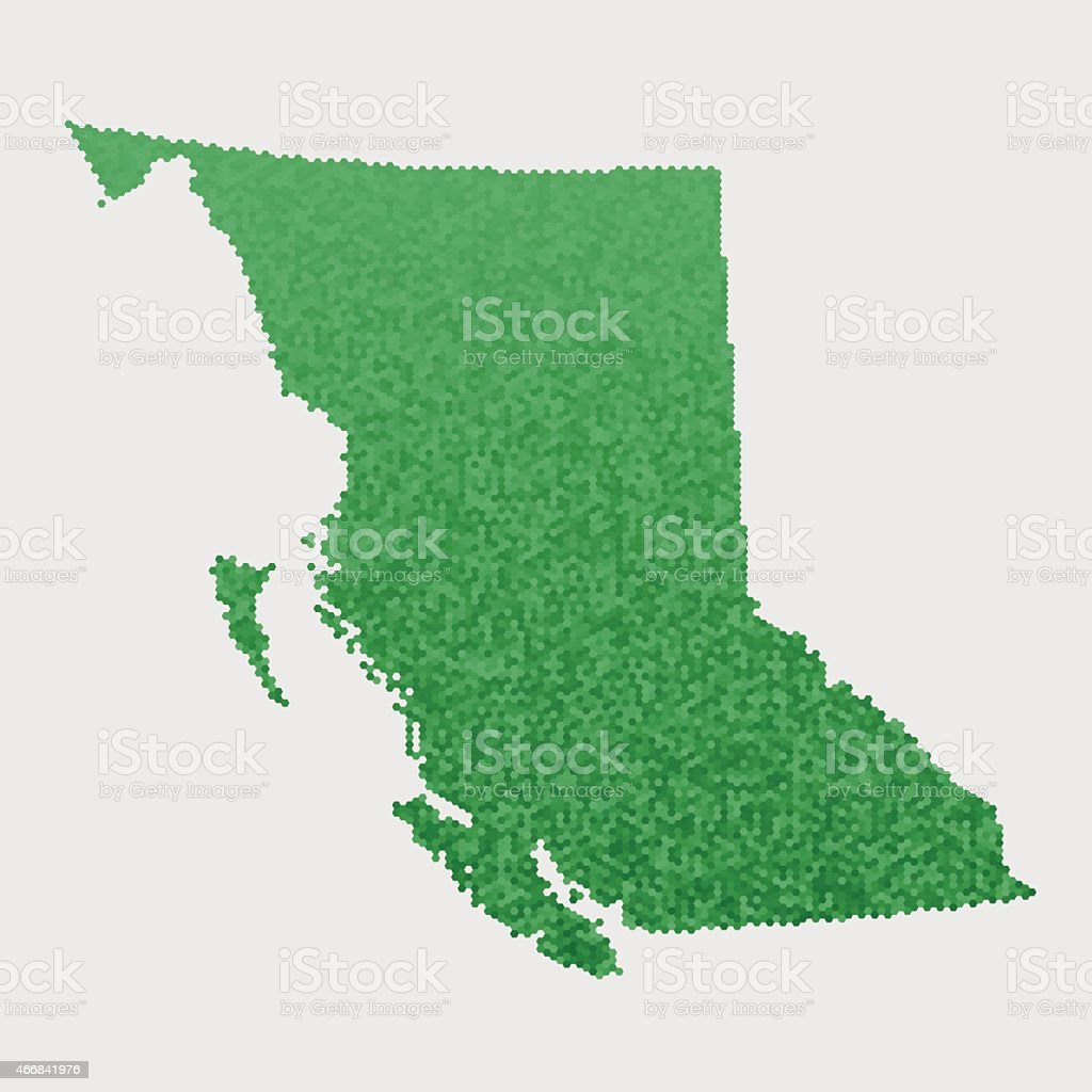 British Columbia Map Green Hexagon Pattern vector art illustration