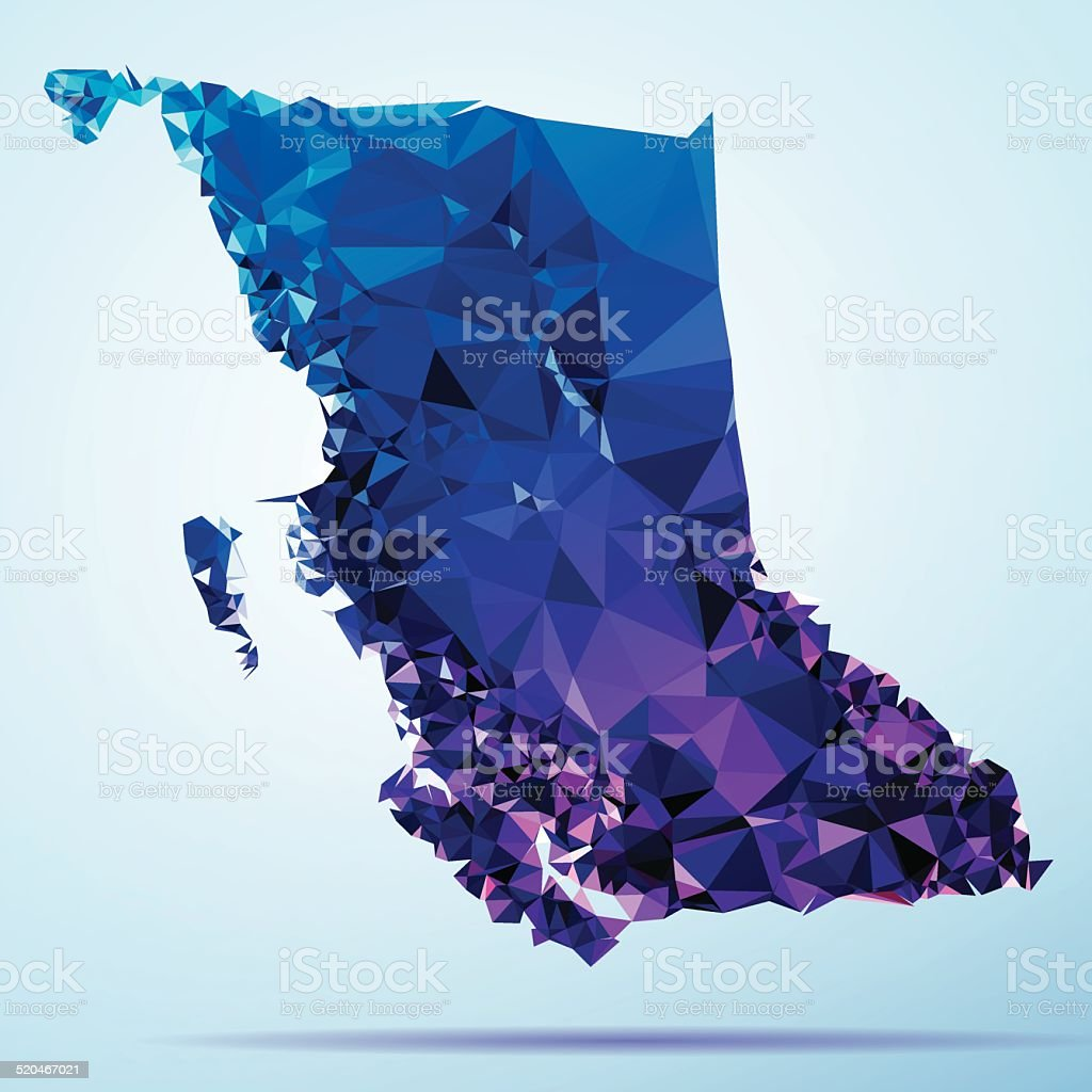 British Columbia Polygon Triangle Map Blue vector art illustration