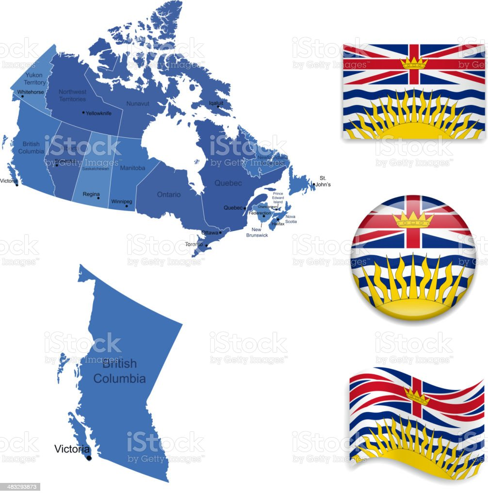 British Columbia province set vector art illustration