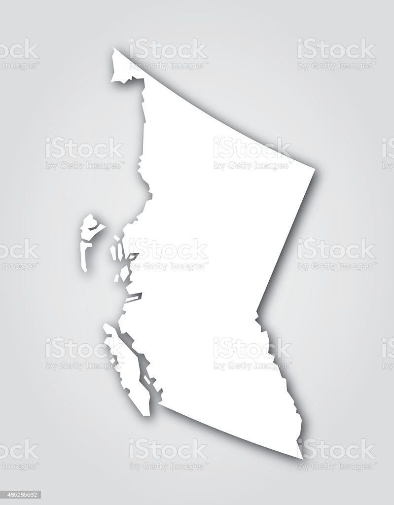 British Columbia Silhouette White vector art illustration