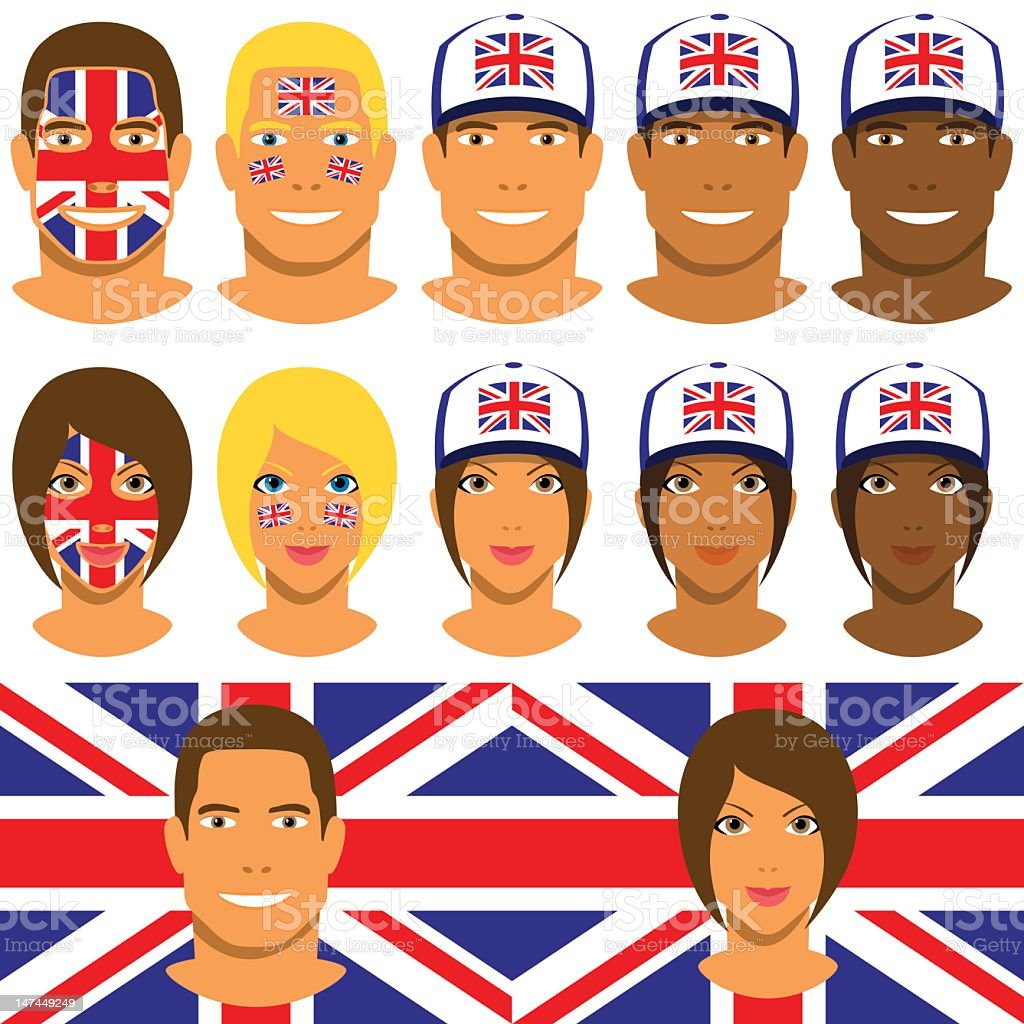 British fans, patriot with flag of the United Kingdom royalty-free stock vector art