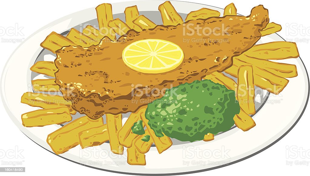 British Fish And Chips On Plate With Mushy Peas Lemon stock vector ...